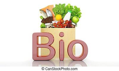 bio, drogheria, sano, parola, isolato, borsa, carta, prodotti, bianco, 3d