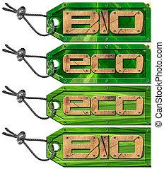 Bio Eco Green Tags - 4 items