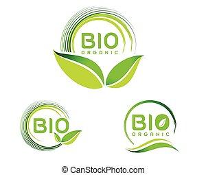 bio, eco, logotipo, icono