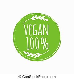 bio, eco, vegan の食糧, ベクトル, イラスト, logo., ラウンド, design.