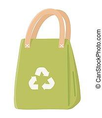 bio, ecologie, ontwerp, vrijstaand, zak