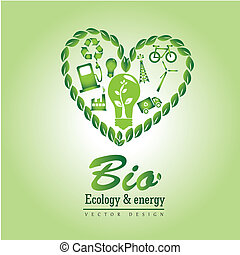 bio ecology and energy over green background vector...