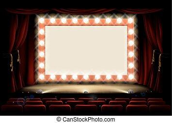 bio, eller, teater, med, stil, ljus kula, underteckna