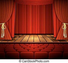 bio, eller, teater, scen, med, a, curtain.