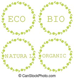 bio, ensemble, eco, feuilles, étiquettes, organique, naturel, produits, insignes