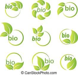 bio, ensemble, feuilles, éléments, vert, conception, symbole