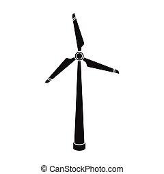 bio, estilo, ecologia, illustration., energia, branca, isolado, experiência., vetorial, pretas, turbina, ícone, símbolo, vento, estoque