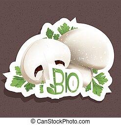 bio, etichetta, fungo