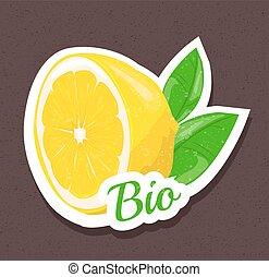 bio, etichetta, limone