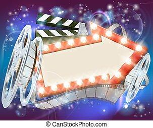 bio, film, pilen undertecknar, abstrakt, bakgrund