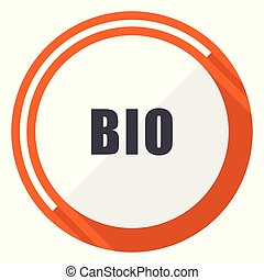 Bio flat design vector web icon. Round orange internet button isolated on white background.