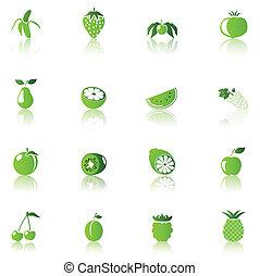 bio food - 16 Fruit Icons, green on white