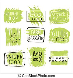 Bio Food Green Lables Set - Bio Food Green Lables. Vector...