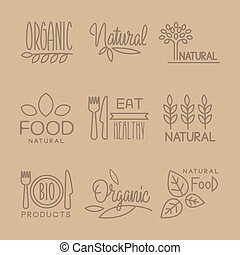 Bio Food Handdrawn Linear Lables Set - Bio Food Handdrawn...