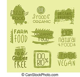 Bio Food Lables Set - Eco Food Green Lables. Vector...