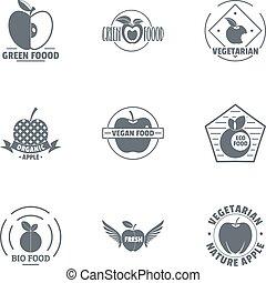 Bio food logo set, simple style
