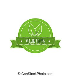 Bio food logo. Vegan vector badge. Vegan food sign with leaves. Organic design. Vector illustration