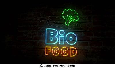 Bio food neon on brick wall - Bio food neon symbol on brick...