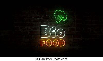Bio food neon on brick wall - Bio food neon symbol on brick...