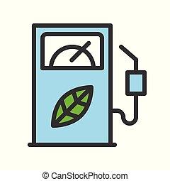 Bio fuel dispenser, Clean energy concept filled outline Flat icon