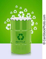 bio fuel gallon - Green barrel of bio fuel, environment...