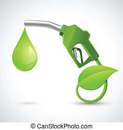 Bio fuel logo concept - Green bio fuel concept with fueling...
