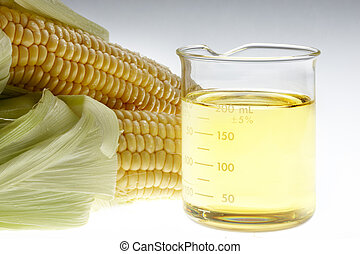 Bio Fuel still life - Beaker of of ethanol and ears of corn ...
