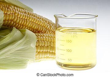 Bio Fuel still life - Beaker of of ethanol and ears of corn...