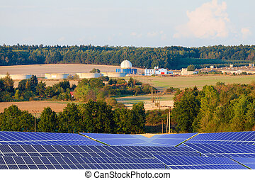 Bio gas plant and energy solar panels