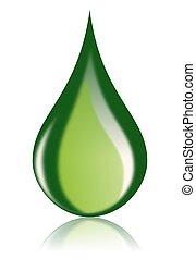 bio, gota óleo, verde, combustível, ícone