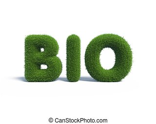 Bio green grass in the form of letters