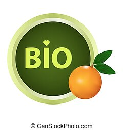 Bio green sticker with orange fruit for organic food