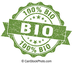 bio green vintage seal isolated on white