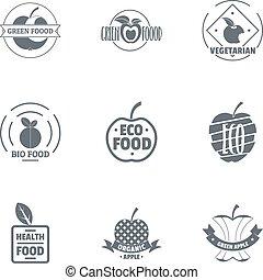 Bio grocery logo set, simple style