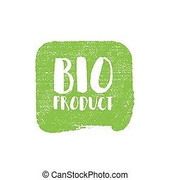 bio, grunge, postzegel, illustratie, rubber, vector, natuurlijke