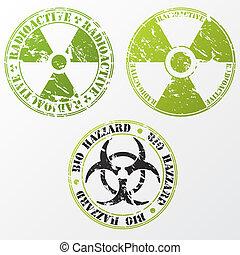 Bio hazard and radioactive stamp set - Grunge bio hazard and...