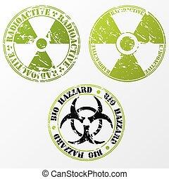 Bio hazard and radioactive stamp set