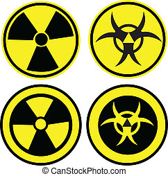 Bio hazard icons set in two different styles, vector...