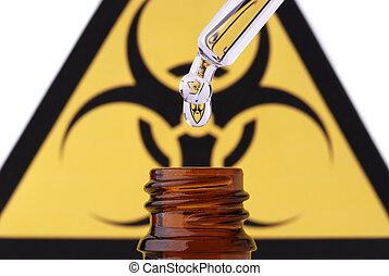 Bio hazard pipette drop and bottle - Bio hazard symbol in...