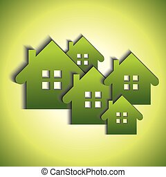 bio, huisen, groene, iconen