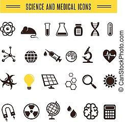 bio, icônes, -, recherche, scientifique, chimie, meute