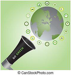 bio, iconen, omringde, roepende, duurzaam, groene, gaan, wereld, megafoon