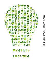 bio, iconos, eco, luz, símbolos, ambiental, bombilla, ...