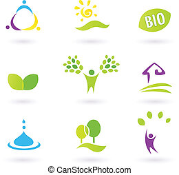 BIO icons inspired by people, farm life and nature. Vector illustration.