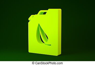 bio, illustration, concept., ikon, minimalism, drivmedel, bakgrund., kanister, barrel., miljö, grön, gul, 3, recycle., isolerat, render, eco
