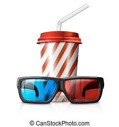 bio, illustration, -, exponeringsglas 3d, en