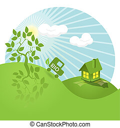 bio - illustration, landscape tree, house, and bio car