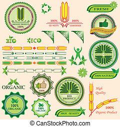 bio, jogo, orgânica, etiquetas, quality., emblemas