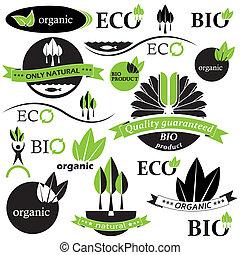 bio, jogo, orgânica, ilustração, vetorial, labels., emblemas