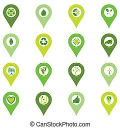 bio, jogo, pinpoint, ícones, eco, relatado, símbolos, ambiental